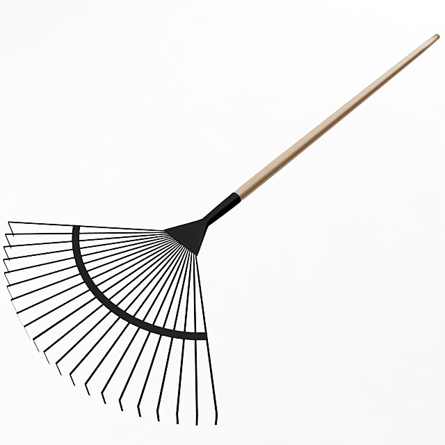 Garden fan rake garden fan rake garden fan rake for Gardening tools 3d model
