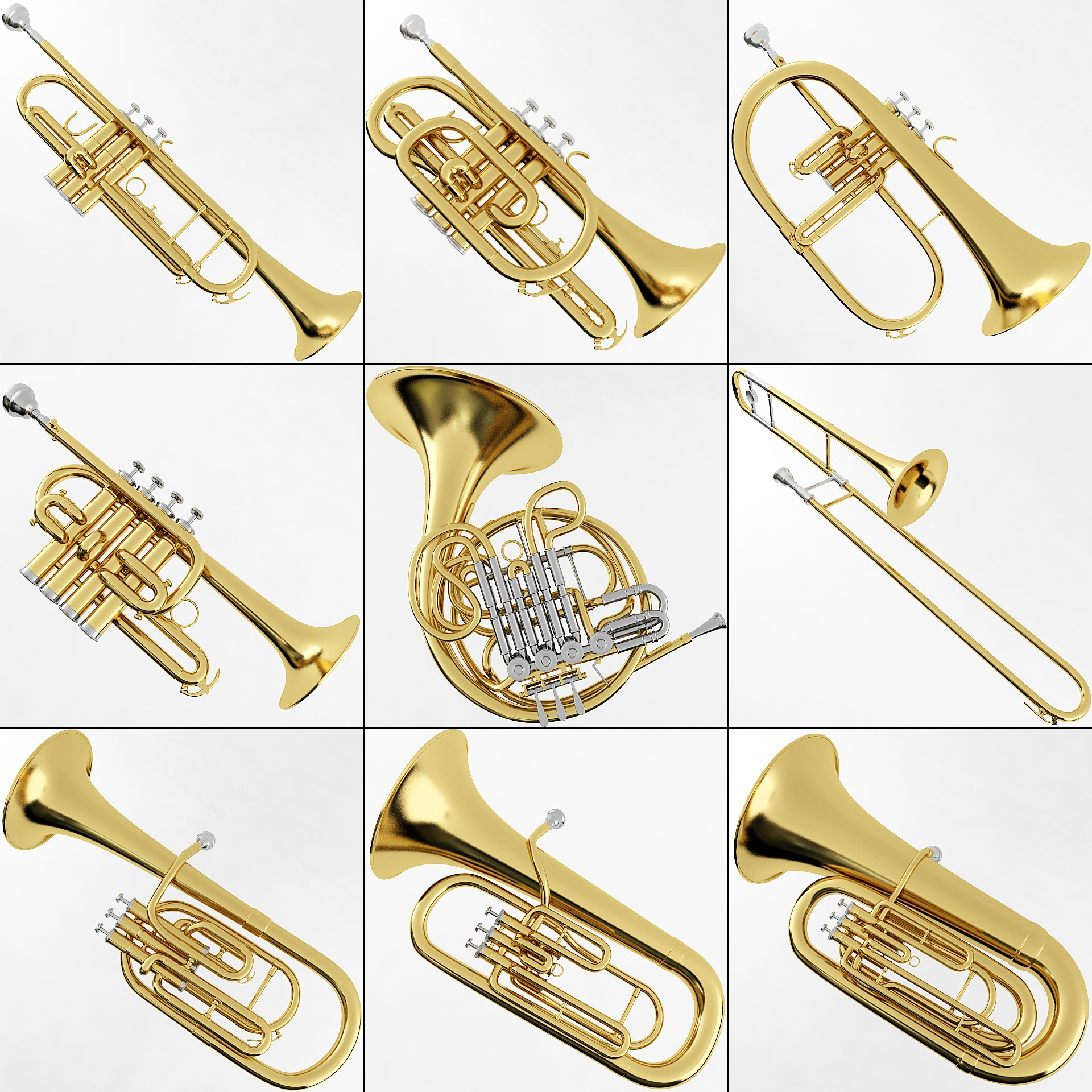 Brass Musical Instrument Collection Brass Musical ...